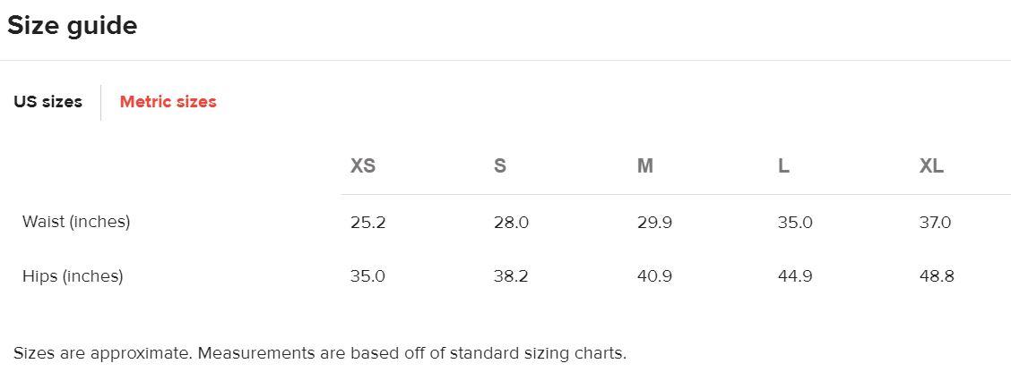 Womens Leggings Size Chart